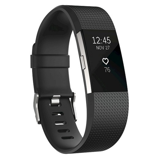 Fitbit Charge 2 Heart Rate + Fitness Wristband, Black, Large (US Version