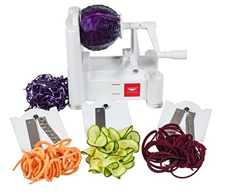 Paderno World Cuisine 3 Blade Vegetable Slicer Spiralizer Counter Mounted and includes 3 Stainless Steel Blades