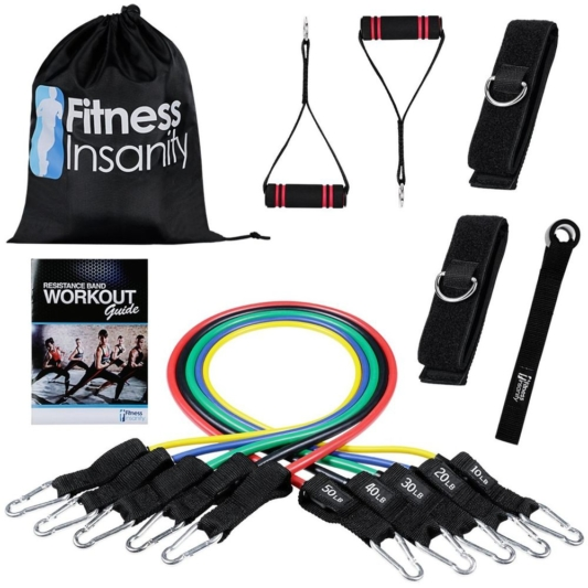 Resistance Band Set - Include 5 Stackable Exercise Bands with Waterproof Carrying Case, Door Anchor Attachment, Legs Ankle Straps and Exercise Guide Ebooks