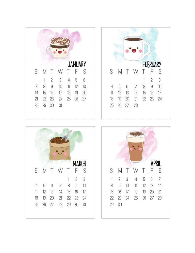 Free Printable 2018 Kawaii Coffee Journal Card Calendar by The Cottage Market