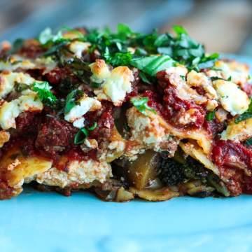 Slice of Roasted Vegetable Lasagna on a plate