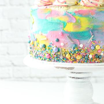 Pink Lemonade Cake with sprinkles