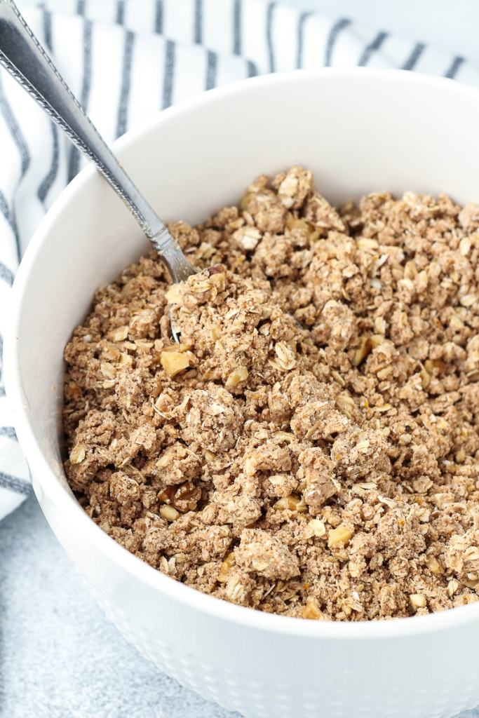 Gluten Free streusel topping in a bowl.
