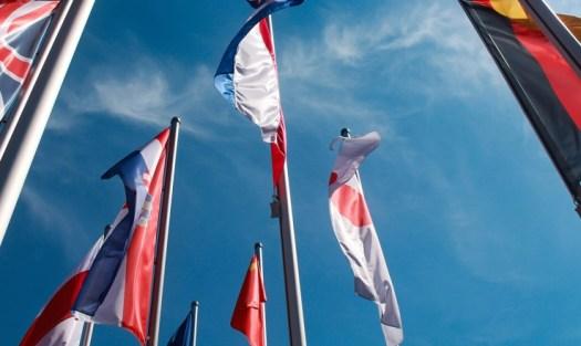 International flags symbolising multi-language websites