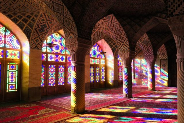 top iran points of interest include the Pink Mosqua in Shiraz
