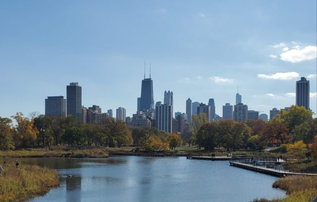 Chicago skyline view from Lincoln Park