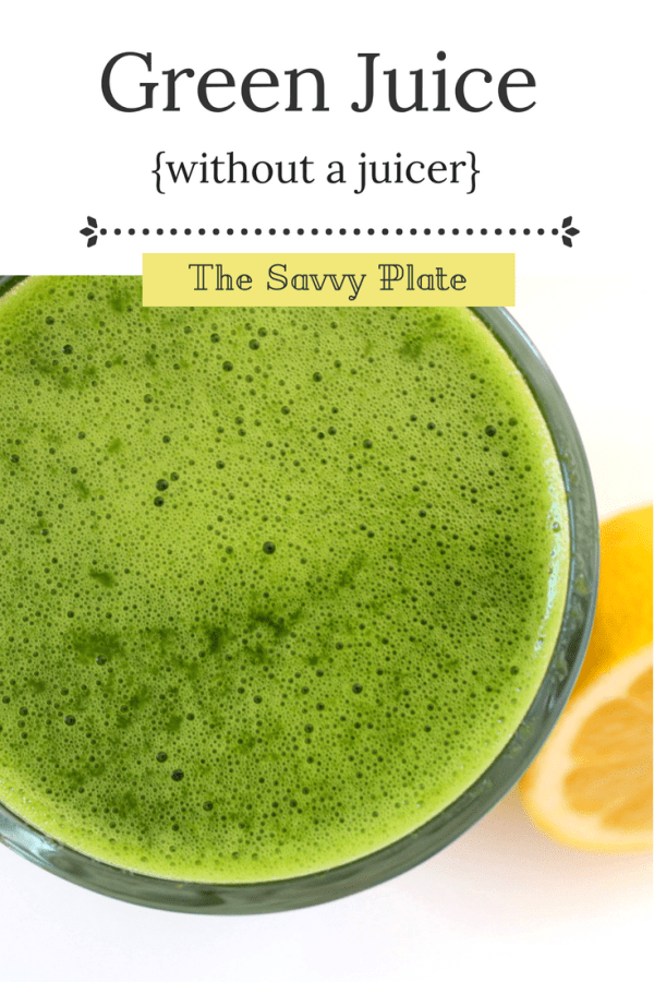 {Green Juice -- without a juicer} Packed with fresh fruit and nutritious veggies, this green juice tastes much like what you'd buy at a juice bar, but it's made at home in a blender and for a fraction of the cost!