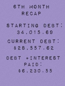 Six months into my debt free journey and I am excited to announce that I have paid off $6,230.55 since January 1st!