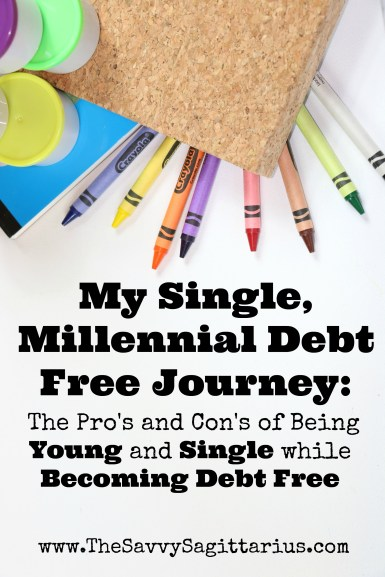I am a millennial. I am also single. And I am also on my debt free journey. Alone, I have paid off $15,000+ in one year of focusing on ditching my debt. While doing it alone may seem like a blessing at times, it can also be a curse. Here are my pros and cons of being young and single while becoming debt free..