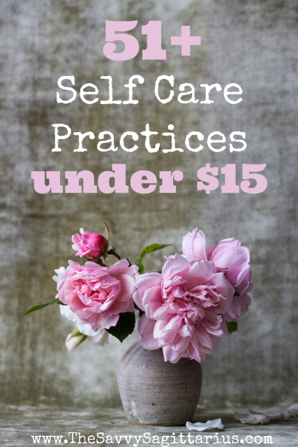 Self care seems to be a hot topic lately. Maybe it is because in general, we are pretty bad about taking care of ourselves until it is really bad. I have been looking for different self care ideas, but they don't need to be expensive. Here are 51+ self care practices for under $15.