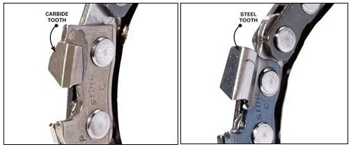 carbide tooth vs. steel tooth