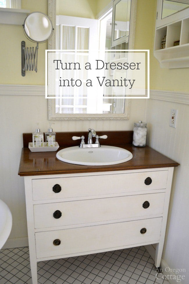 dresser turned into vanity