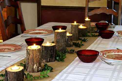 Rustic Log Centerpiece