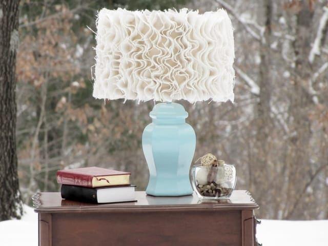 Ruffled Burlap Lamp DIY