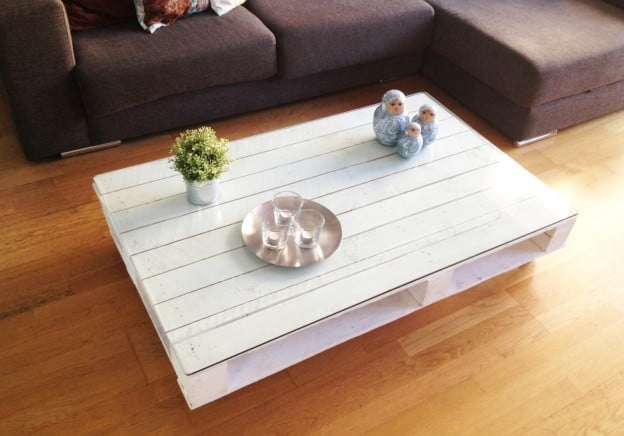Glass Top Pallet Coffee Table