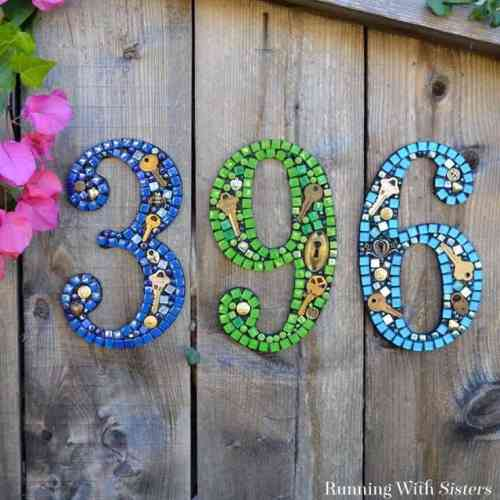 DIY Mosaic House Number Sign