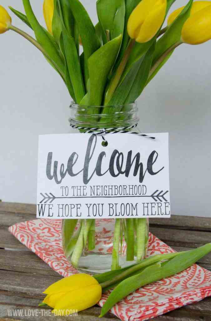 Flower Bouquet With Printable Housewarming Gift