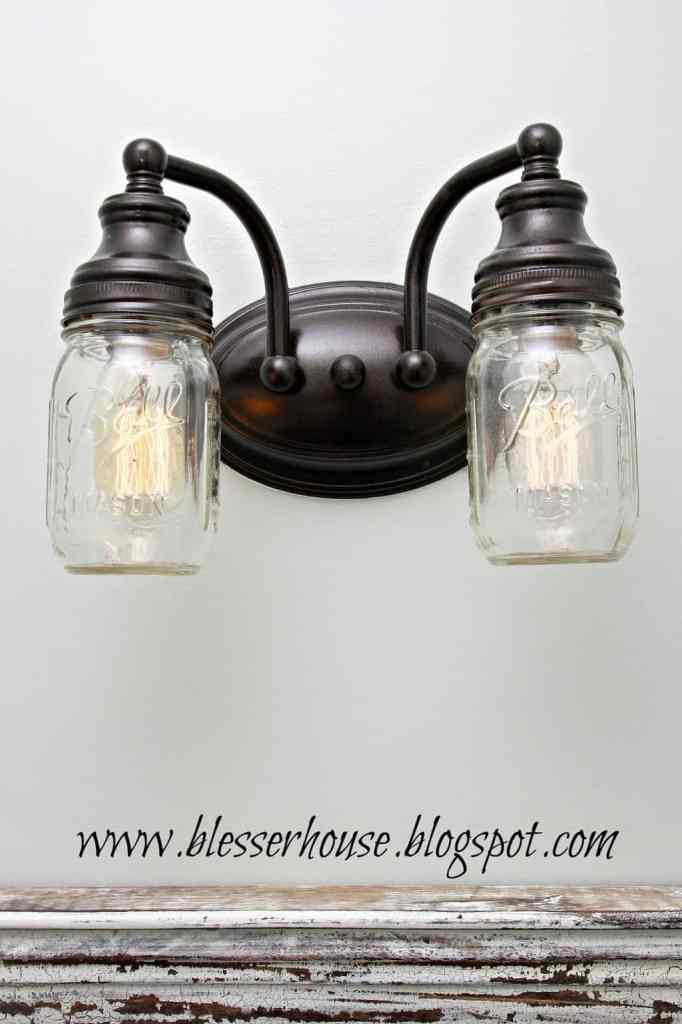 Vanity Light Mason Jar DIY