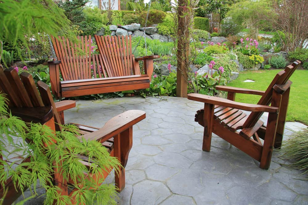 wood furnishing and smooth stone