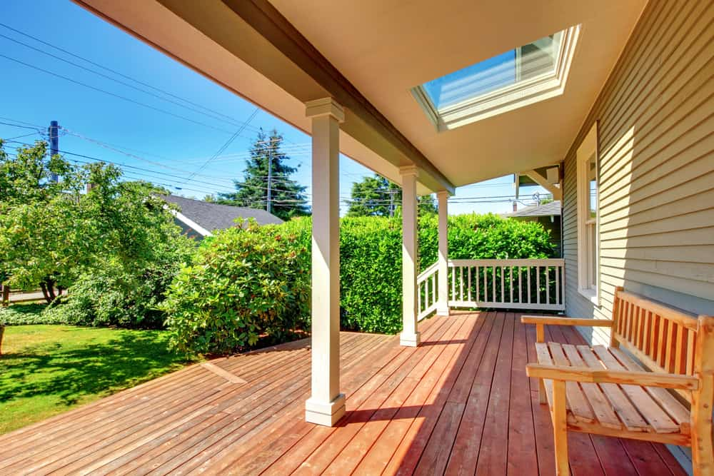extended wood deck white railing