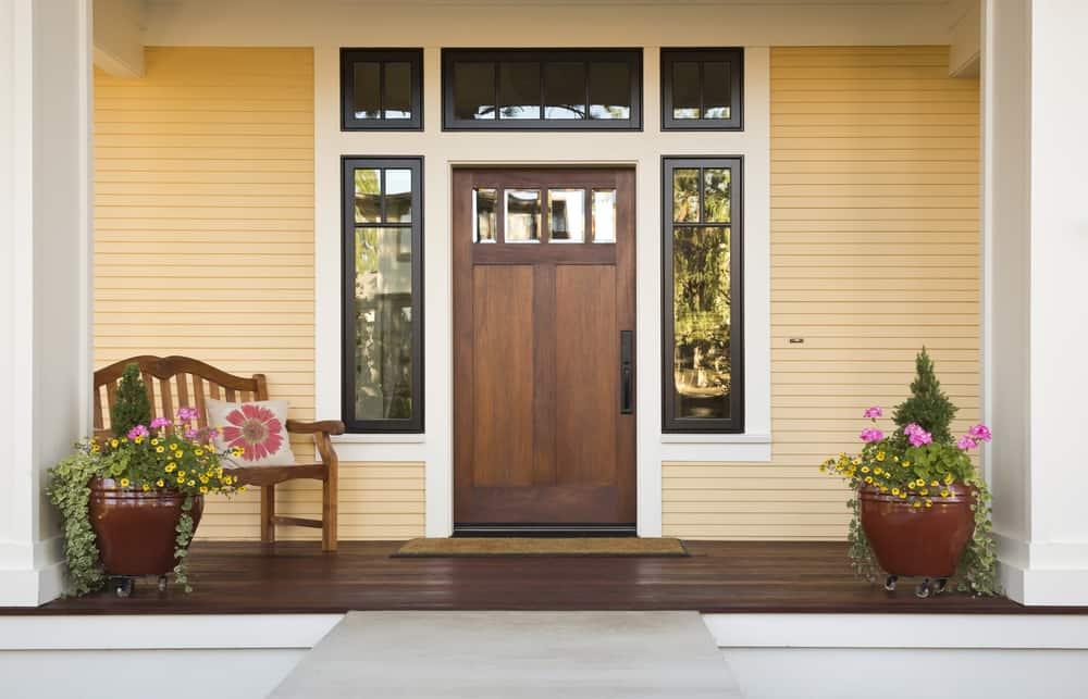 wood door porch chair