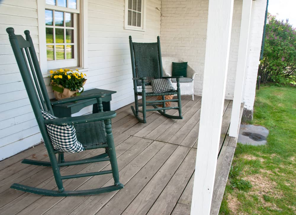 green rocking chairs