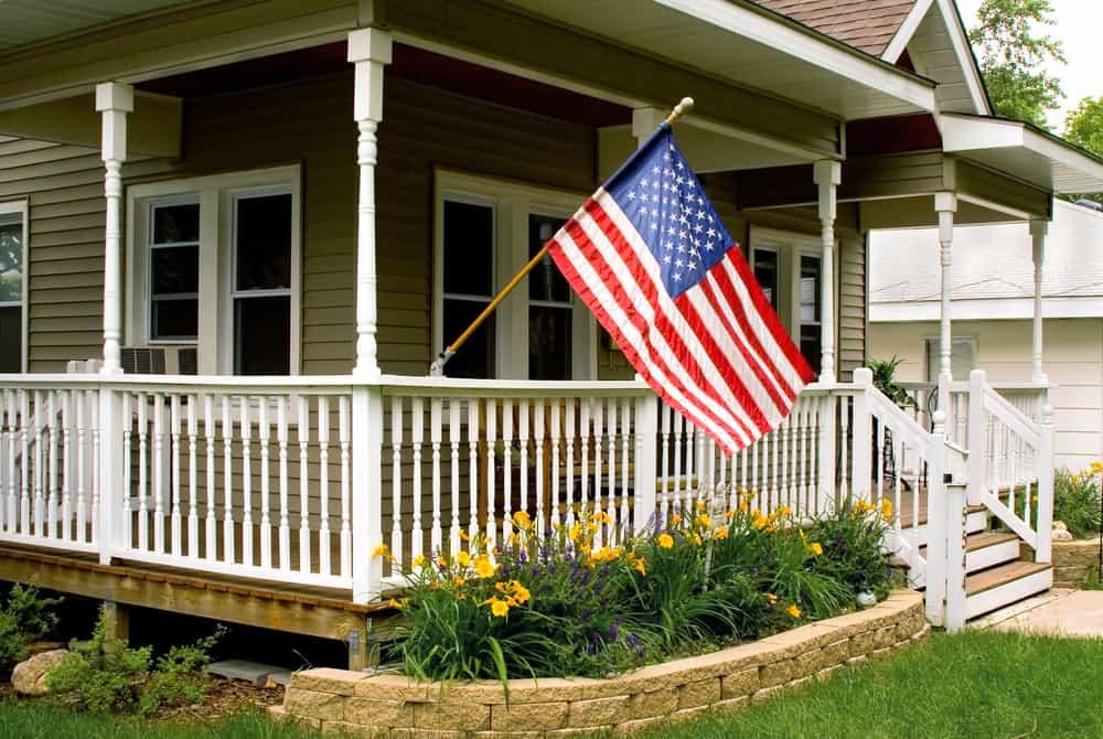 classic american flag white railing
