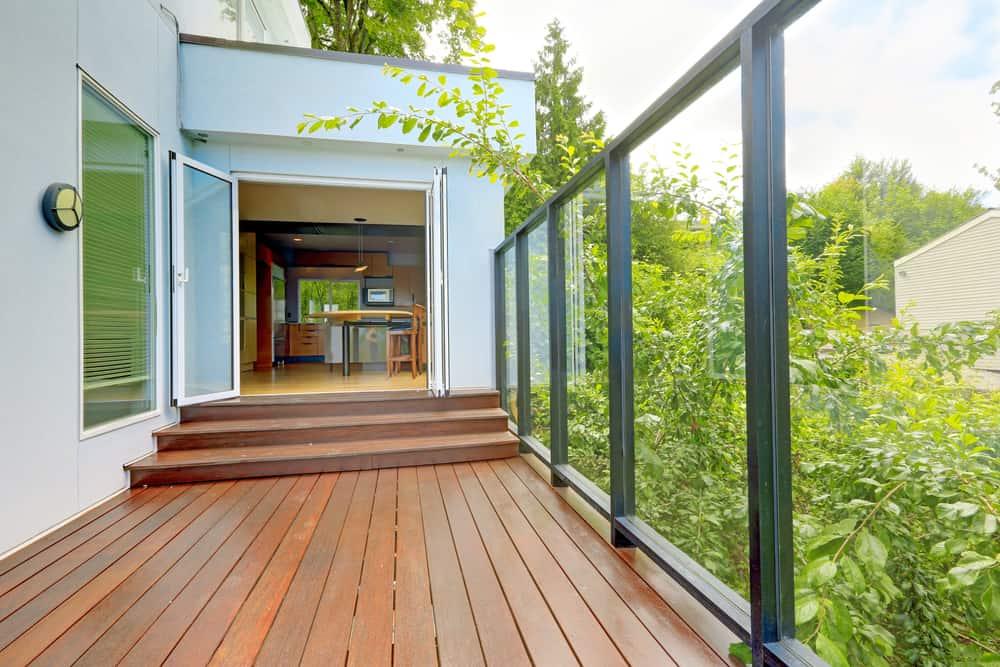 window railing and wood deck