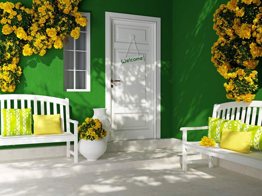 green facade white benches yellow detailing