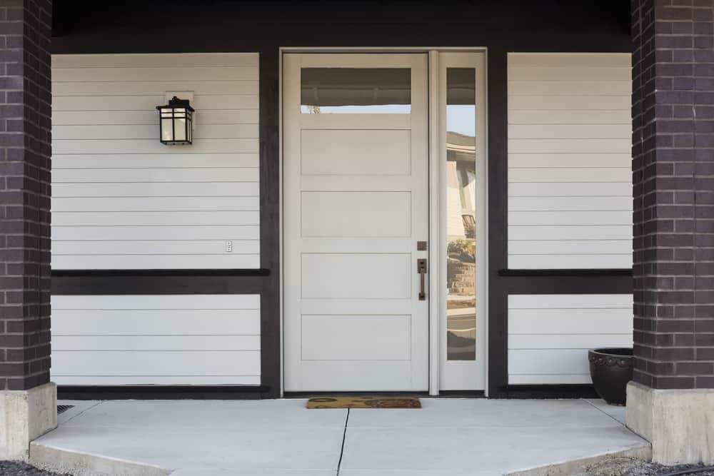 white and black minimalist porch