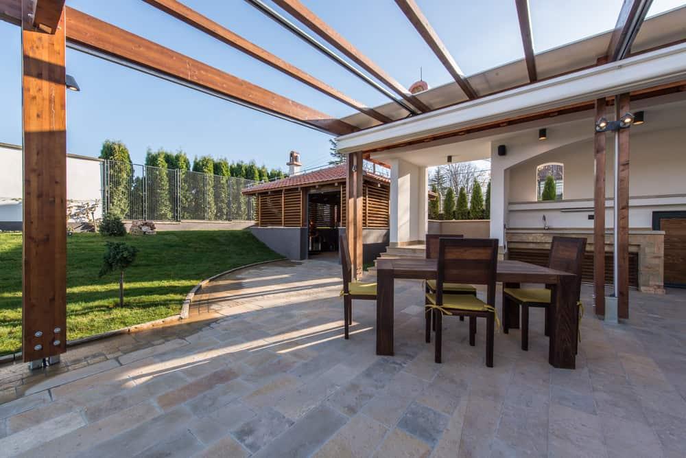 shaded stone patio