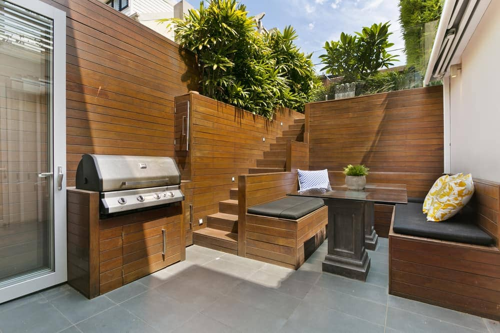 inset wood concrete privacy fence