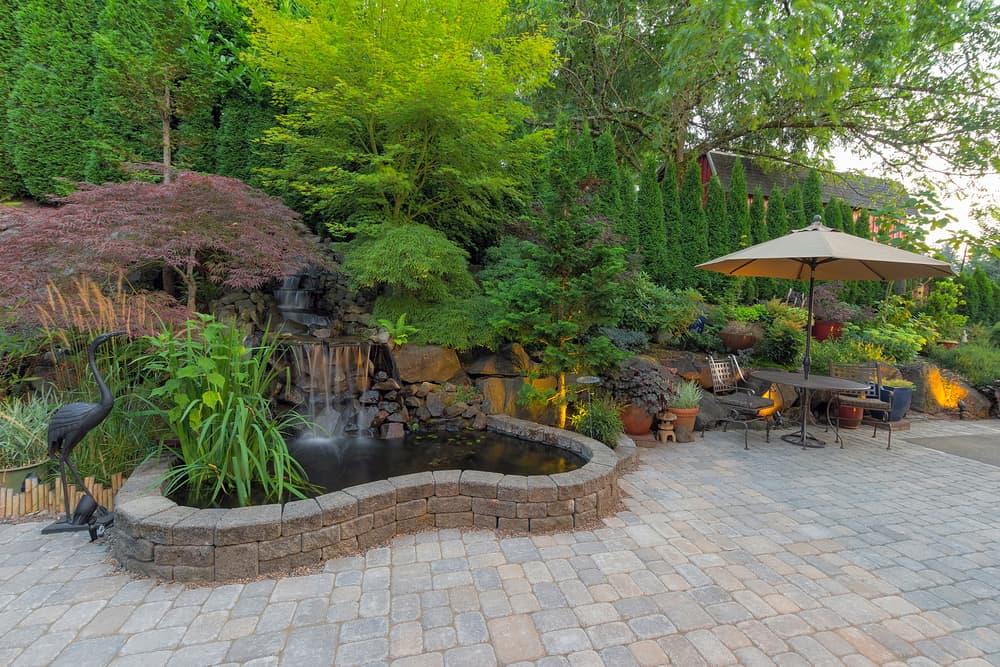 patio with raised garden