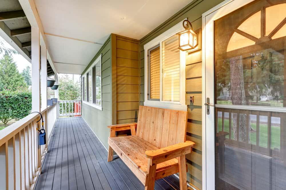wood bench under window