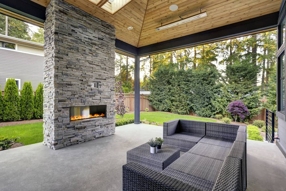 brick and glass simple fireplace