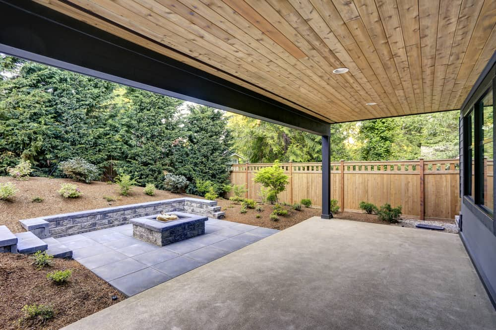 wood ceiling covered patio
