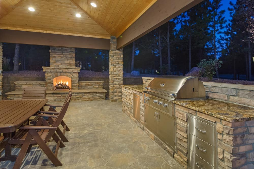 outdoor fireplace and grill patio