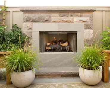 small simple brickwork fireplace plants