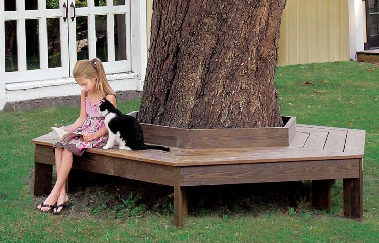 Build A Tree Bench Do you have a large tree that would be perfect with a bench around it? Take a look at this tutorial on how to make your own tree bench. This is going to add charm, curb appeal while giving you plenty of additional seating for guests.  thesawguy.com
