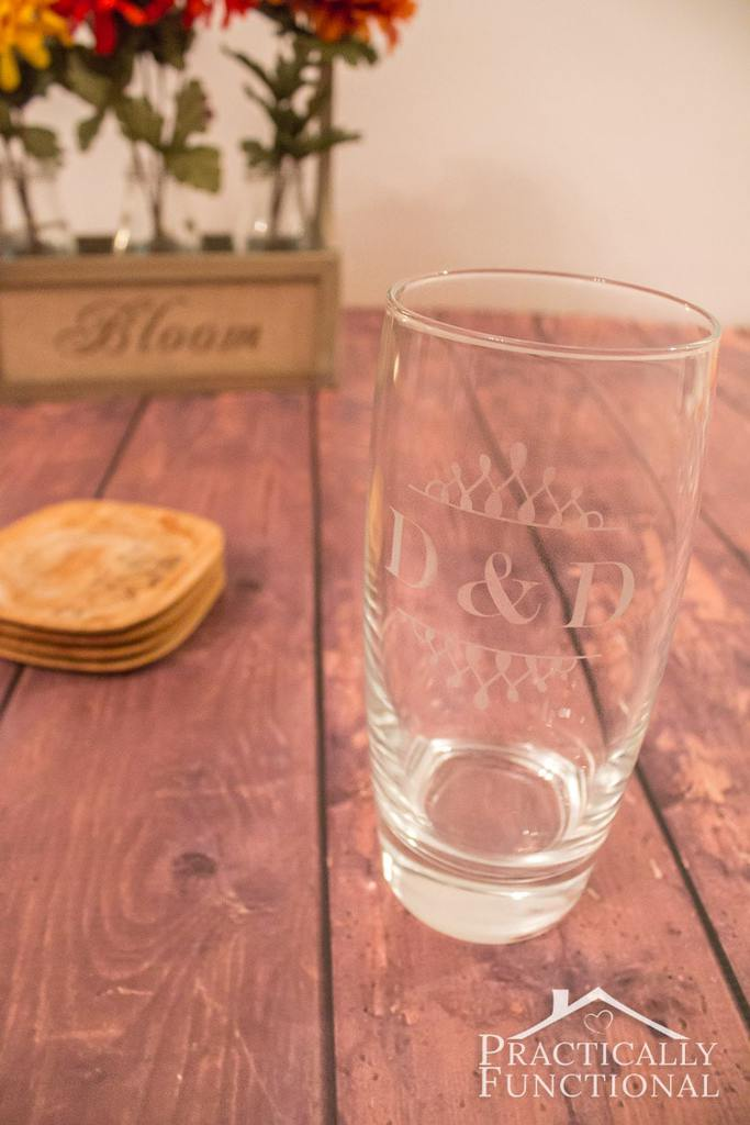 DIY Etched Glass How cool would it be to have an entire collection of etched glasses that you made yourself? All your friends are going to be jealous when they come over and see them. The best part is they only take about ten minutes to make too! thesawguy.com