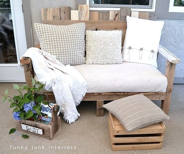 Pallet Wood Sofa Build your own pallet wood sofa and you will have a terrific outdoor entertaining area. It is easy to make and comfy to sit on as well. The instructions are very detailed which will make it simple for you to replicate. Add some vibrant throw pillows and some potted plants. thesawguy.com