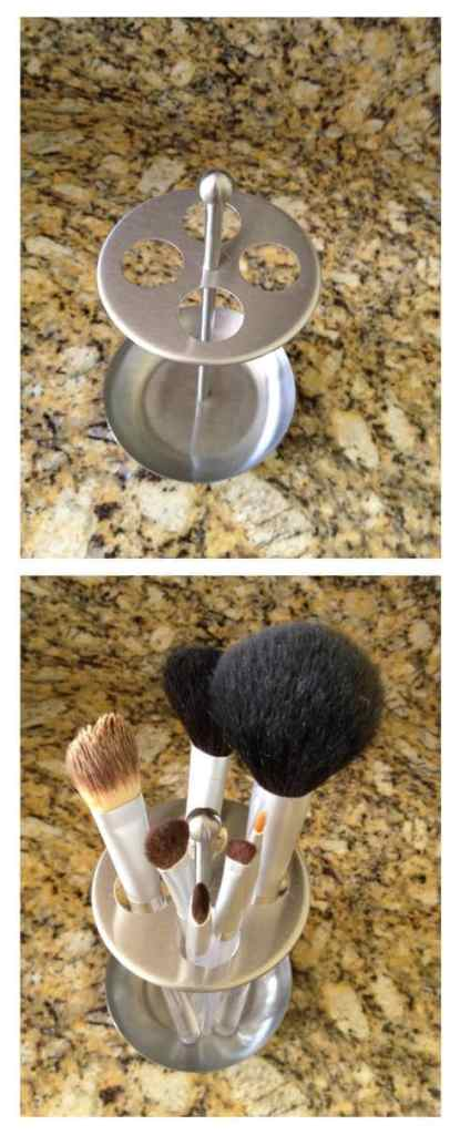 Makeup Brush Holder Transform a toothbrush holder into a makeup brush holder. The brushes will be much easier to find when they are all conveniently located in one place. Plus, they look great in the holder instead of strung around the counter.