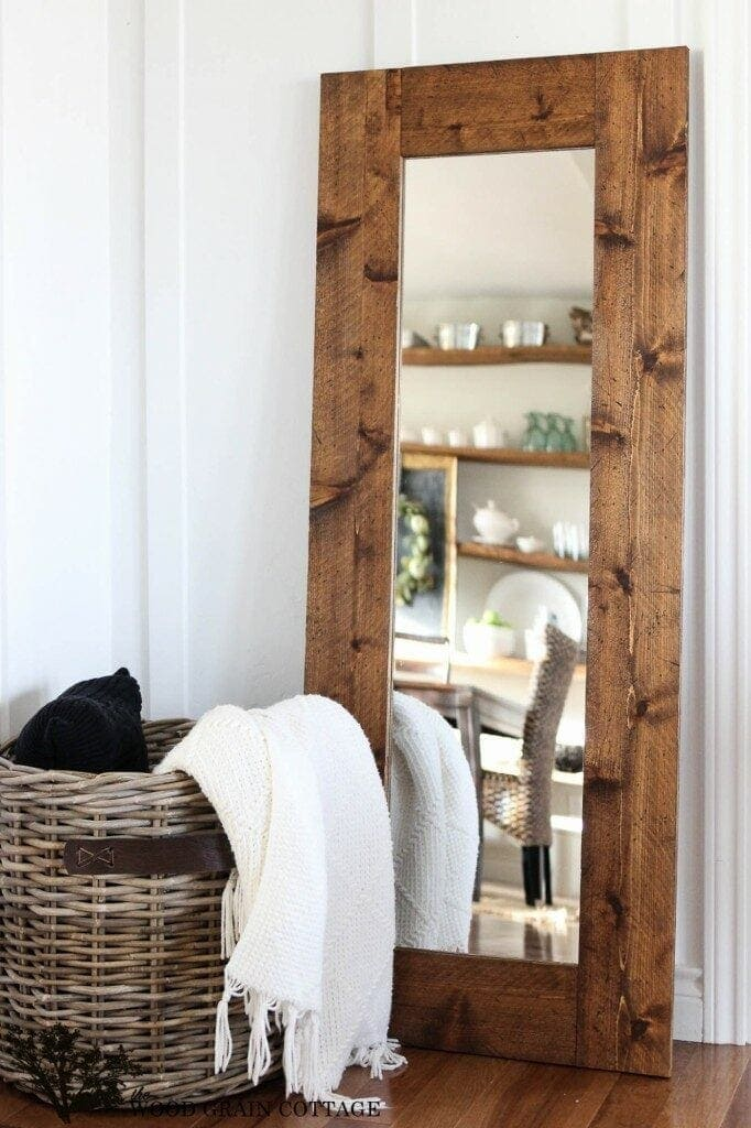 19. Wood Framed Mirror This rustic beauty will look fabulous in your dressing room, master bedroom, or any other room in the house! Make your wood framed mirror with a little effort and time. Overall, this would be a good project for a beginner.thesawguy.com