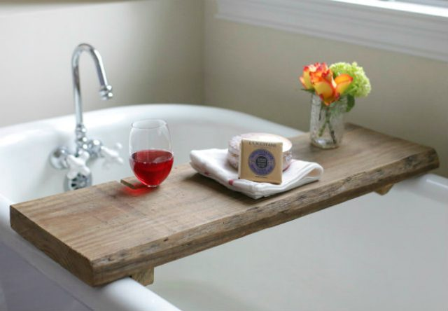 Rustic Bath Caddy Relax in a tub filled with steaming hot water and an easily accessible rustic bath caddy. Perfect for having a place for your glass of wine, body wash, or even a good book. all you need is reclaimed wood and a few other supplies and then you can make your own!thesawguy.com