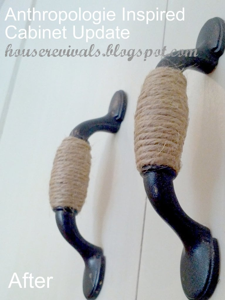 DIY Twine Wrapped Handles We all know how expensive cabinet hardware can be, so use some twine and create beautiful rustic hardware with minimal effort. Give your kitchen or bathroom a facelift with this unique ideas.thesawguy.com