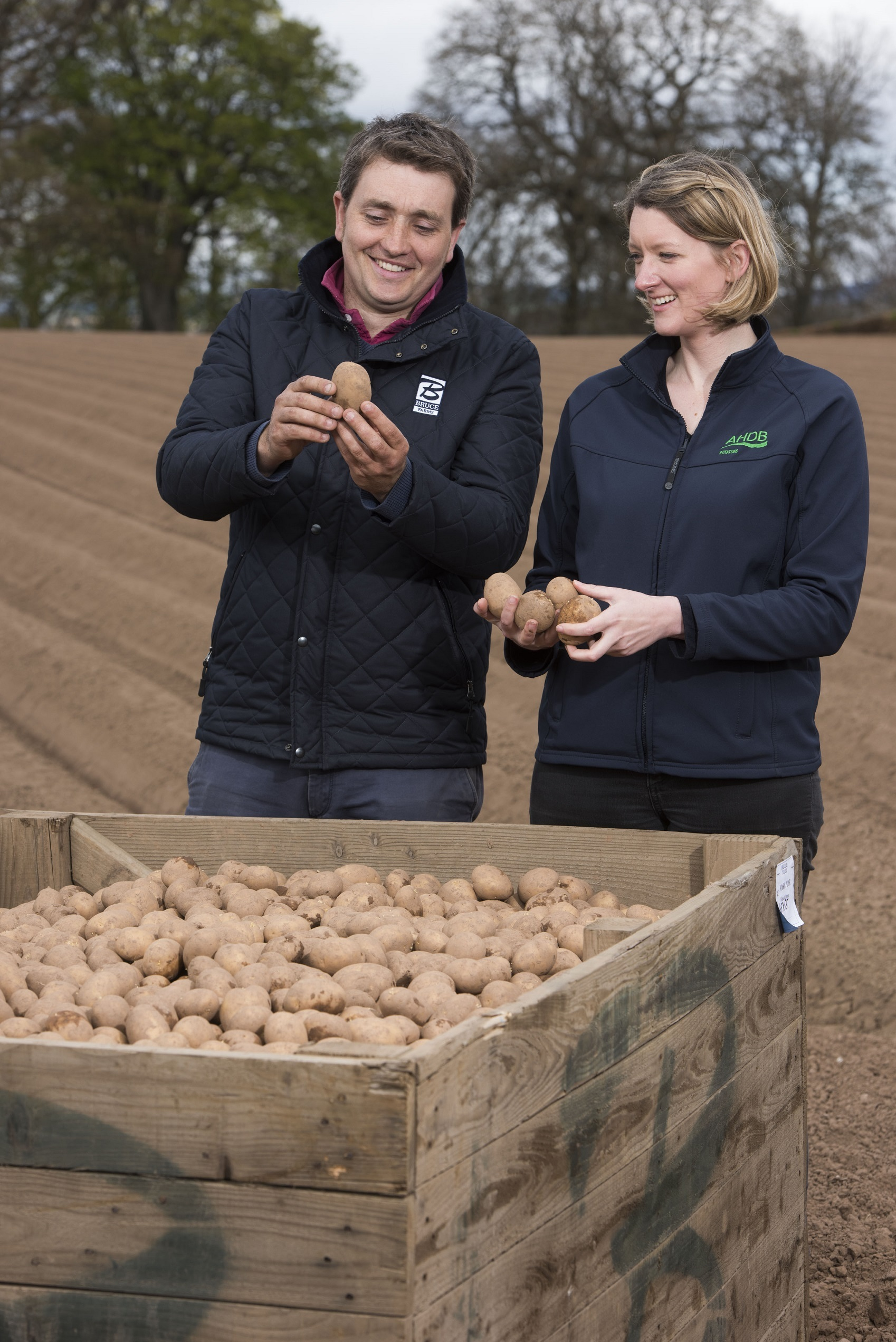 Claire Hodge and Bruce Farms manager Kerr Howatson