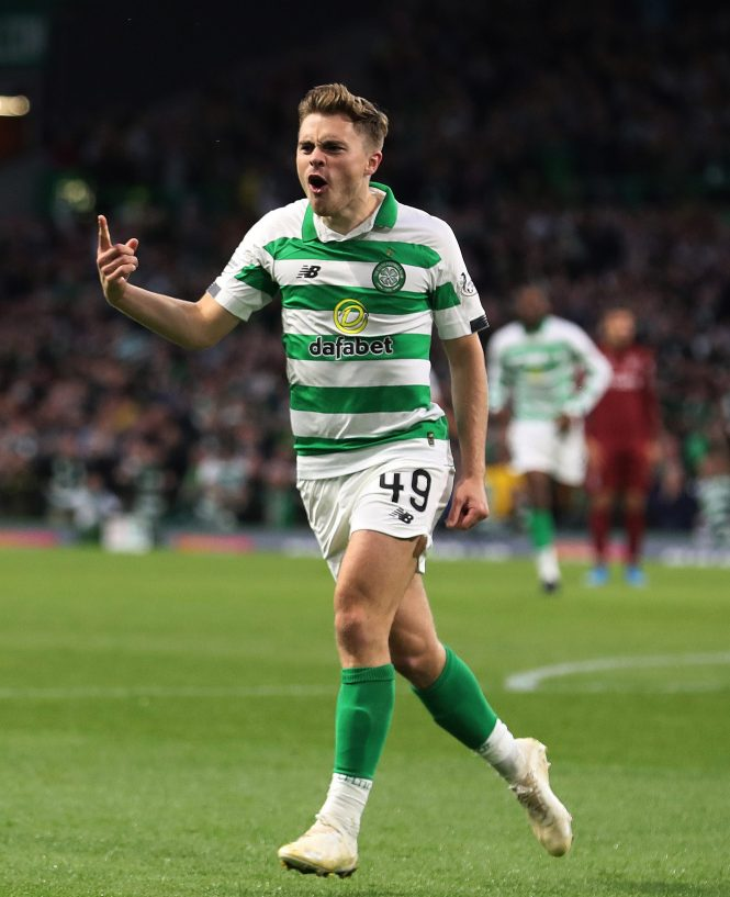 James Forrest celebrates after scoring for Celtic