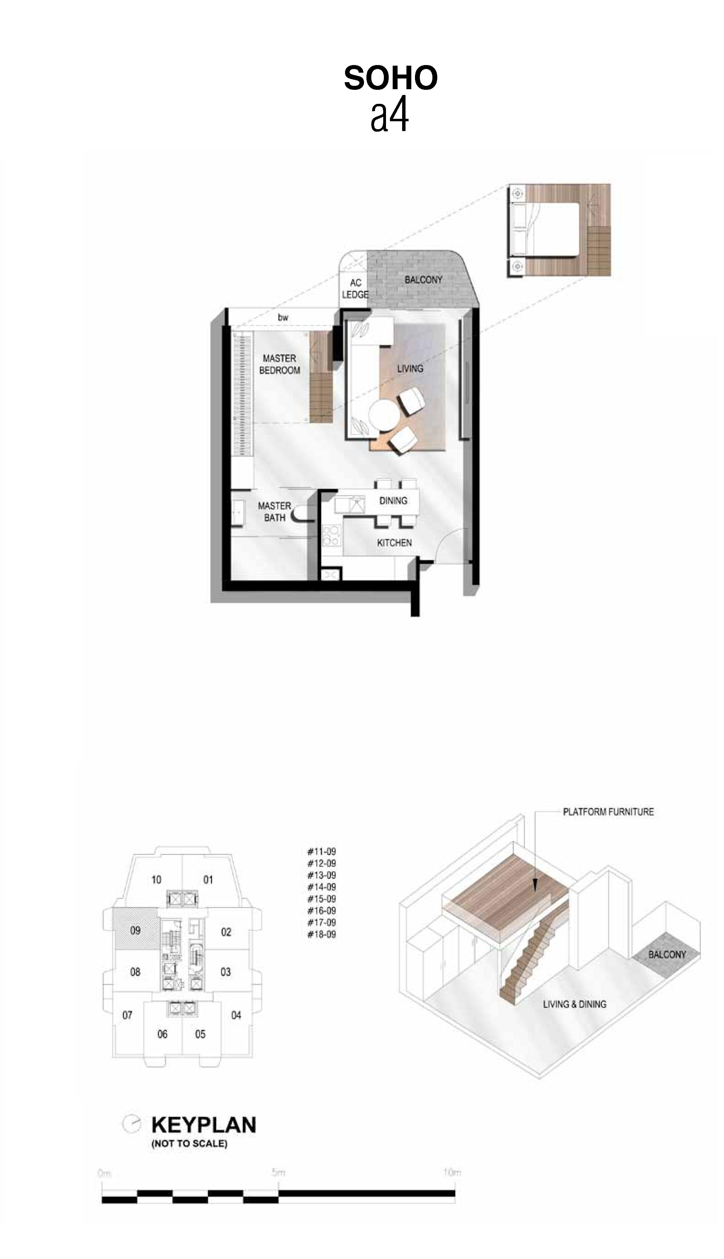 The Scotts Tower 1 Bedroom SOHO Type a4 Floor Plans