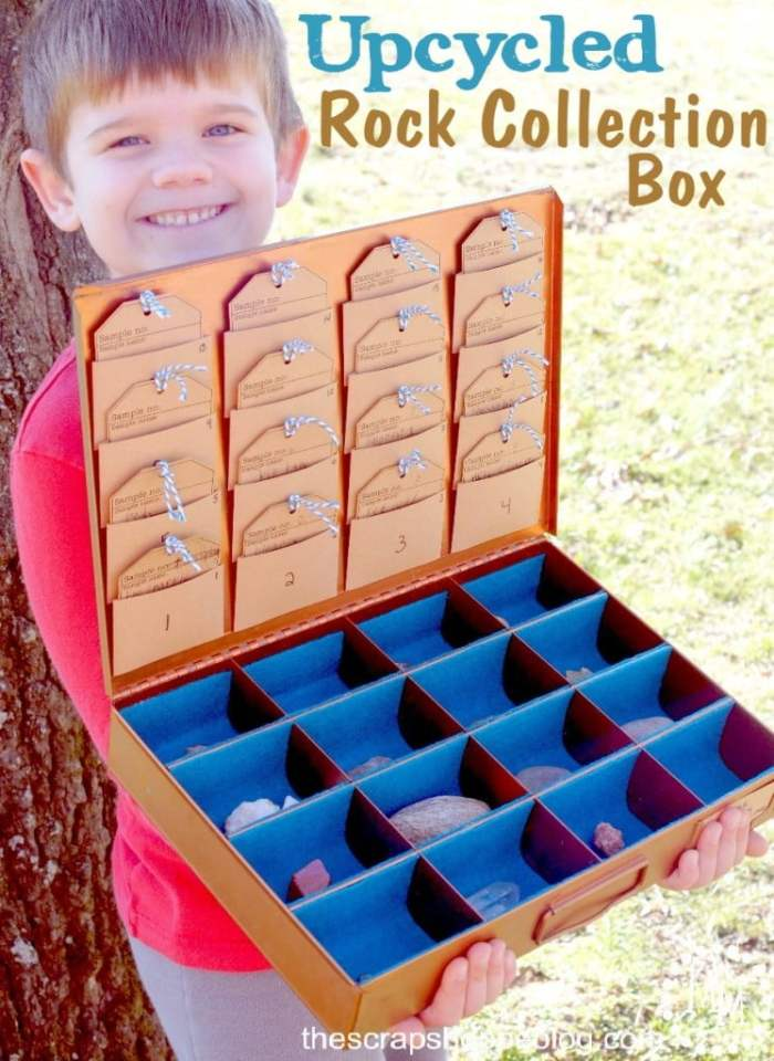 Vintage copper box upcycled into a rock collection box
