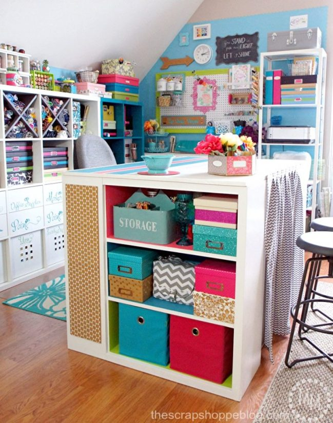 Take a tour of a colorful inviting craft area and see how to make the most out of a small space!